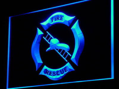 FREE Firefighter Helmet Ladder Fire LED Sign - Blue - TheLedHeroes
