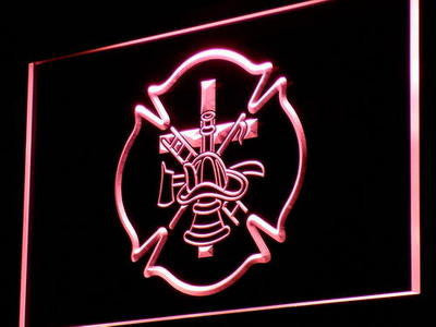 FREE Firefighter Fire Helmet AXE Ladder LED Sign - Red - TheLedHeroes