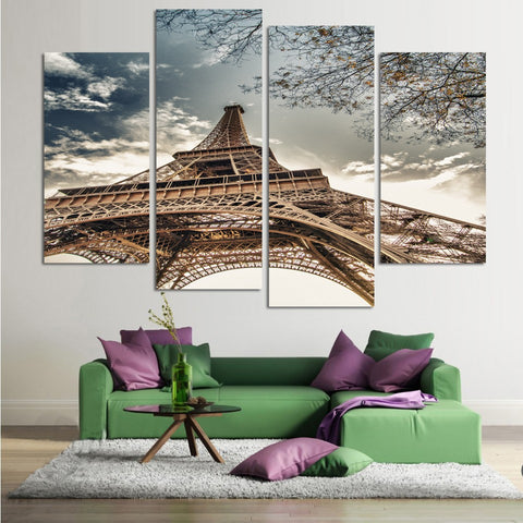Eiffel Tower 4 Pcs Wall Canvas -  - TheLedHeroes