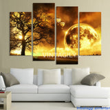 Ancient tree 4 Pcs Wall Canvas