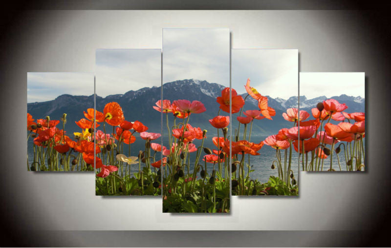 Red poppies and mountain 5 Pcs Wall Canvas -  - TheLedHeroes