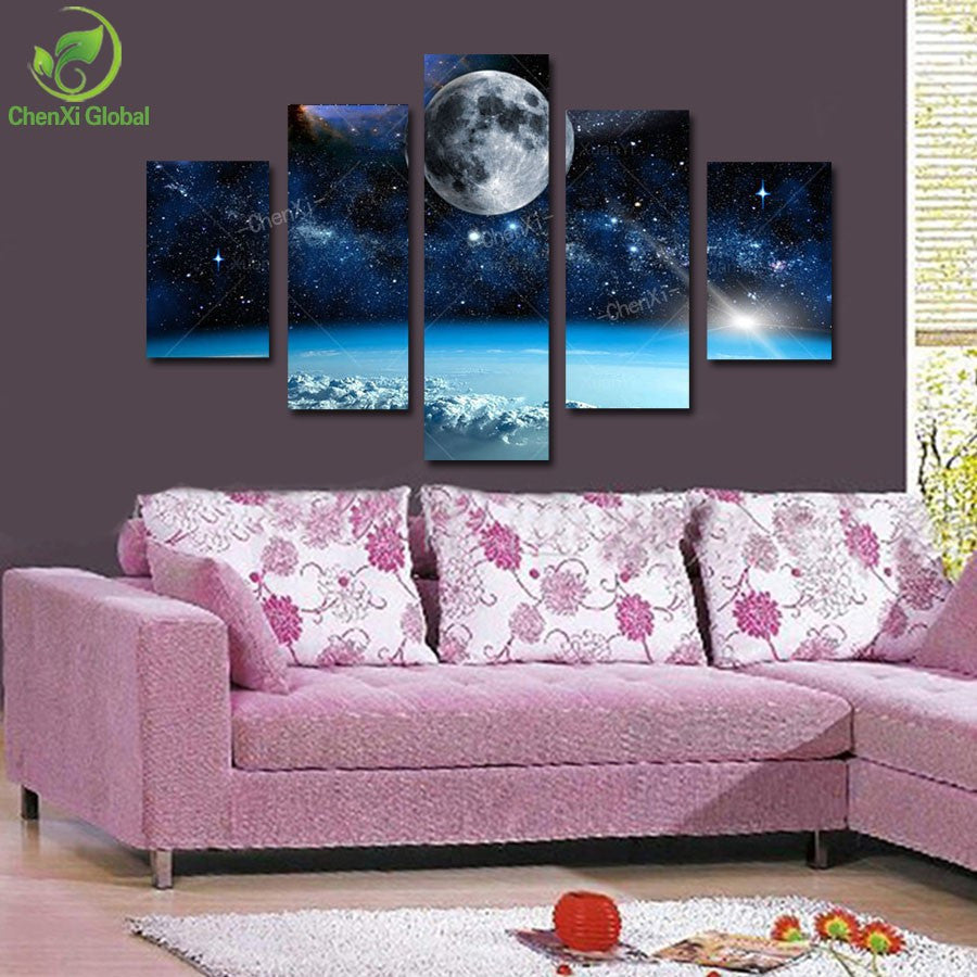 Space Universe landscape 5 Pcs Wall Canvas -  - TheLedHeroes