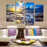 Blue sea clound 4 Pcs Wall Canvas