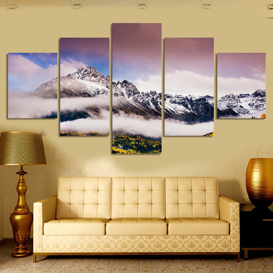 Snow Moutain 5 Pcs Wall Canvas -  - TheLedHeroes