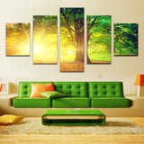 Trees in the sunlight 5 Pcs Wall Canvas -  - TheLedHeroes