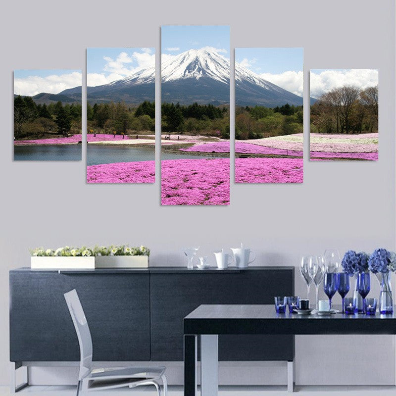 Japan's Fuji Mountain landscape 5 Pcs Wall Canvas -  - TheLedHeroes