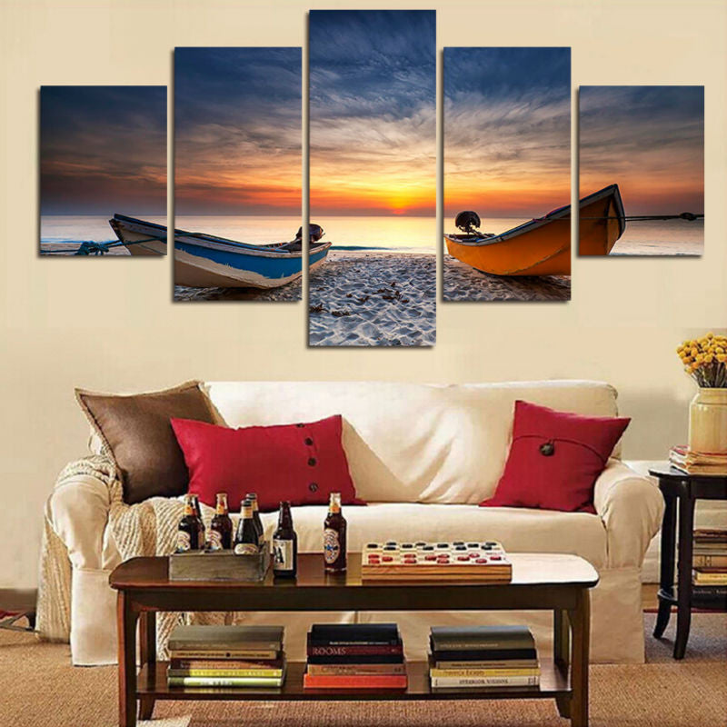 Fishing Boats on the Beach 5 Pcs Wall Canvas -  - TheLedHeroes