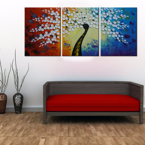 Colorful tree 3 Pcs Wall Canvas -  - TheLedHeroes