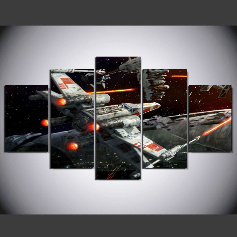 Star Wars X wing 5 Pcs Wall Canvas -  - TheLedHeroes