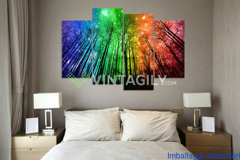 Artistic Starry Sky Aurora 4 Pcs Wall Canvas