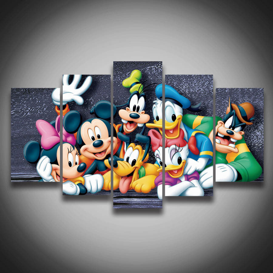 Donald Duck & Mickey Mouse 5 Pcs Wall Canvas -  - TheLedHeroes