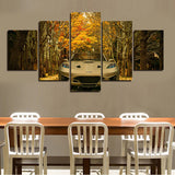 Autumn Cars 5 Pcs Wall Canvas