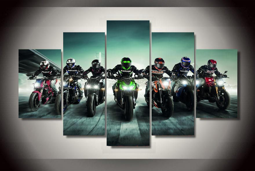 Motorcycles 5 Pcs Wall Canvas -  - TheLedHeroes