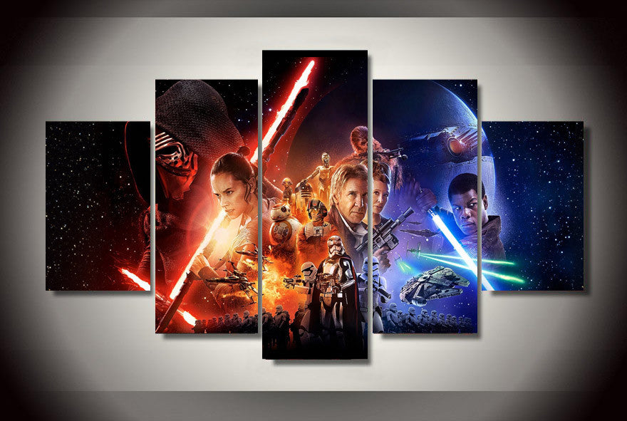 Star Wars The Force Awaken 5 Pcs Wall Canvas -  - TheLedHeroes