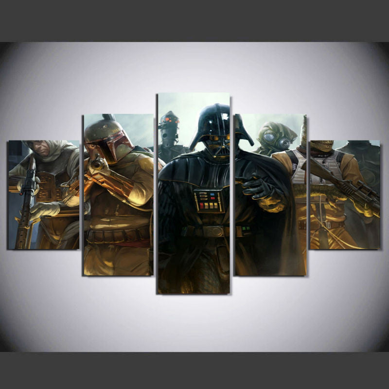 Star Wars Dark Vador and Boba Fett 5 Pcs Wall Canvas -  - TheLedHeroes