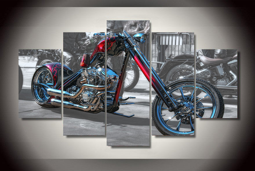 Motorcycle 5 Pcs Wall Canvas -  - TheLedHeroes
