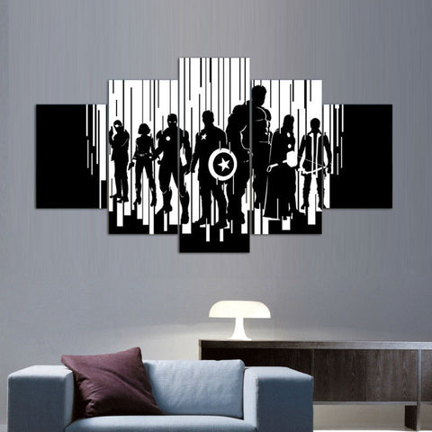 Avengers black and white 5 Pcs Wall Canvas
