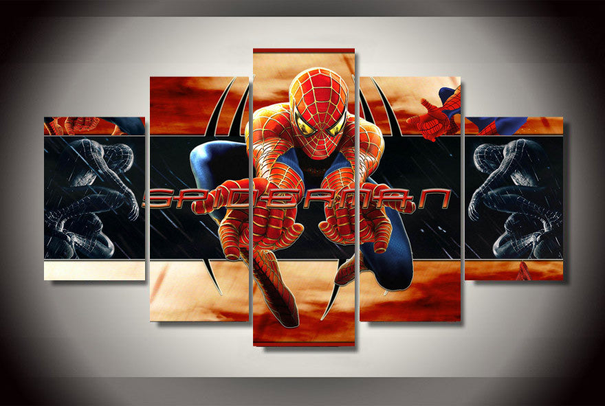 Spider-Man 5 Pcs Wall Canvas -  - TheLedHeroes