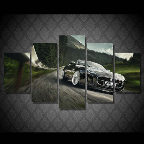Black Car Running On The Way 5 Pcs Wall Canvas -  - TheLedHeroes