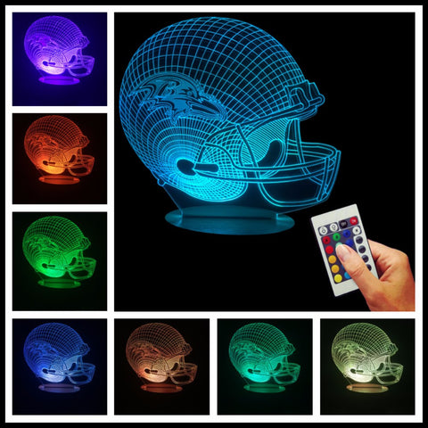NFL Team Helmet 3D LED LAMP - Baltimore Ravens - TheLedHeroes