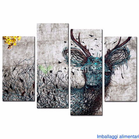 Abstract Deer 4 Pcs Wall Canvas