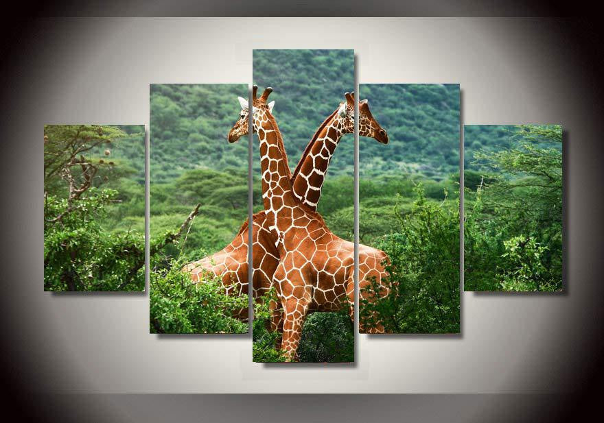 African giraffes 5 Pcs Wall Canvas -  - TheLedHeroes
