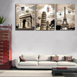 Europe Buildings 3 Pcs Wall Canvas