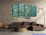 Blue Abstract Flowers 4 Pcs Wall Canvas