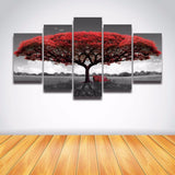Red Wooden Art Landscape 5 Pcs Wall Canvas -  - TheLedHeroes