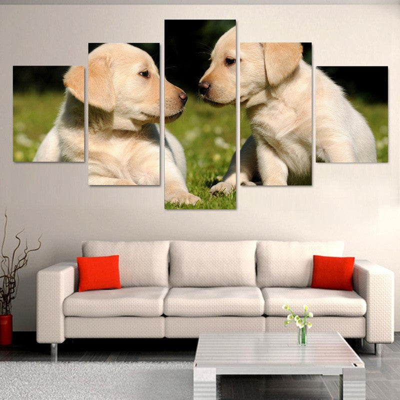 Two Cute Dogs Animals 5 Pcs Wall Canvas -  - TheLedHeroes