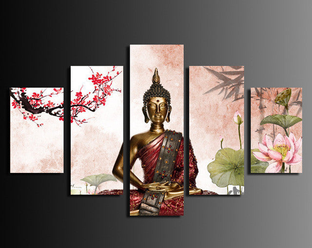 Abstract Buddha 5 Pcs Wall Canvas -  - TheLedHeroes