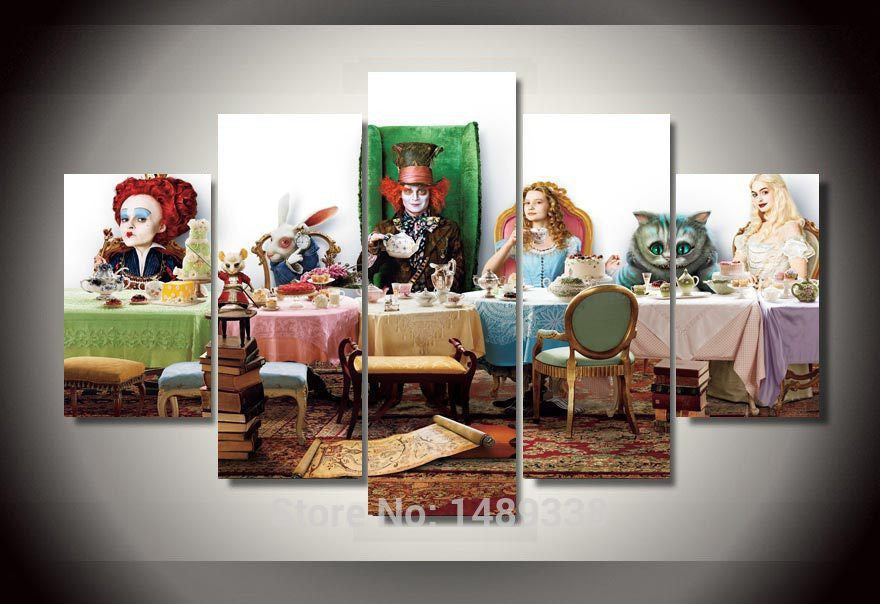 Alice in wonderland  5 Pcs Wall Canvas -  - TheLedHeroes