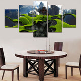 Green landscape 5 Pcs Wall Canvas -  - TheLedHeroes