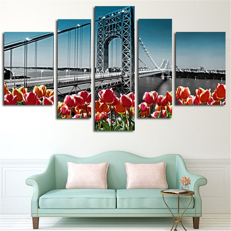 Manhattan bridge 5 Pcs Wall Canvas -  - TheLedHeroes