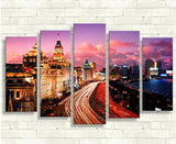 City going to fast 5 Pcs Wall Canvas -  - TheLedHeroes