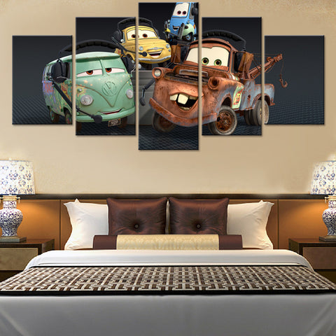 Cars cartoon 5 Pcs Wall Canvas -  - TheLedHeroes