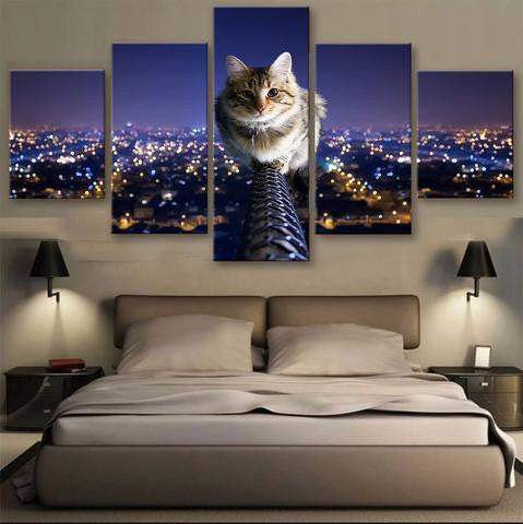 Cat above the city 5 Pcs Wall Canvas -  - TheLedHeroes