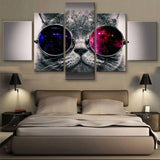 Cool cat 5 Pcs Wall Canvas -  - TheLedHeroes