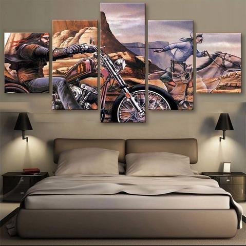 Biker 5 Pcs Wall Canvas -  - TheLedHeroes