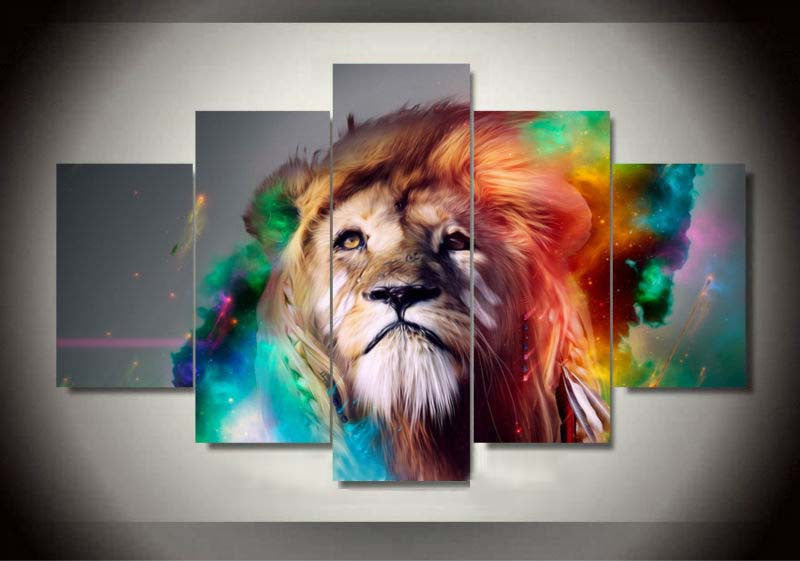 Colored Lion 5 Pcs Wall Canvas -  - TheLedHeroes