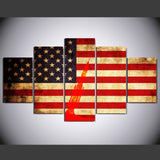American flag 5 Pcs Wall Canvas -  - TheLedHeroes