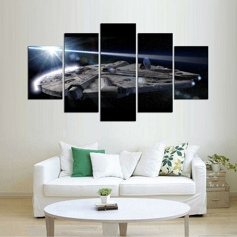 Star Wars Millenium Falcon 5 Pcs Wall Canvas -  - TheLedHeroes