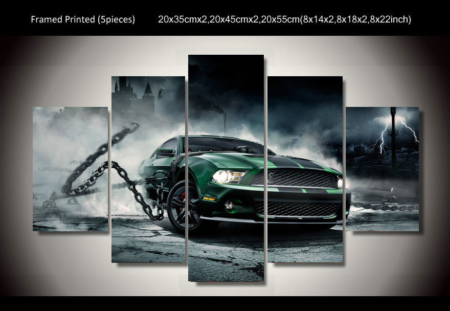 Mustang shelby 5 Pcs Wall Canvas -  - TheLedHeroes