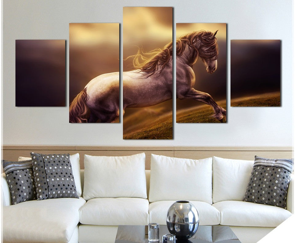 Horse running 5 Pcs Wall Canvas -  - TheLedHeroes