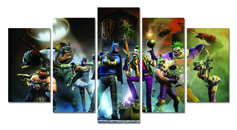 Batman and the Joker 5 Pcs Wall Canvas -  - TheLedHeroes