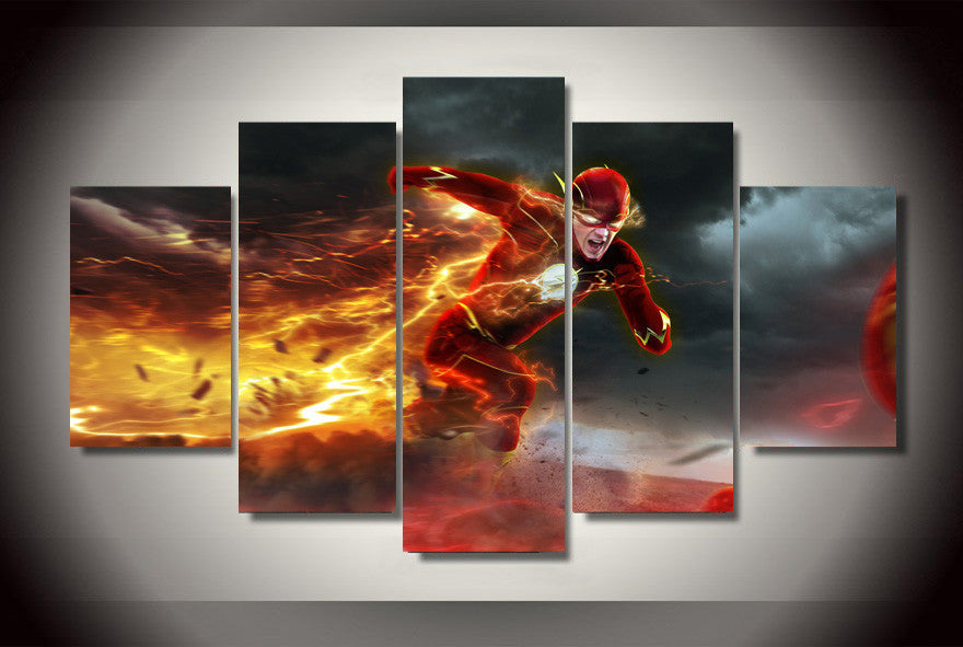 The Flash 5 Pcs Wall Canvas -  - TheLedHeroes