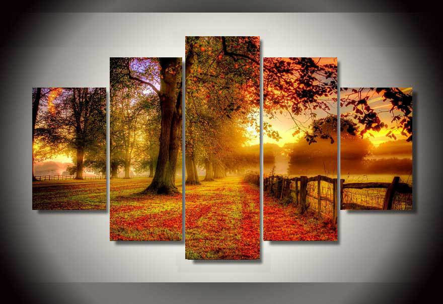 Woods in the sunshine 5 Pcs Wall Canvas -  - TheLedHeroes