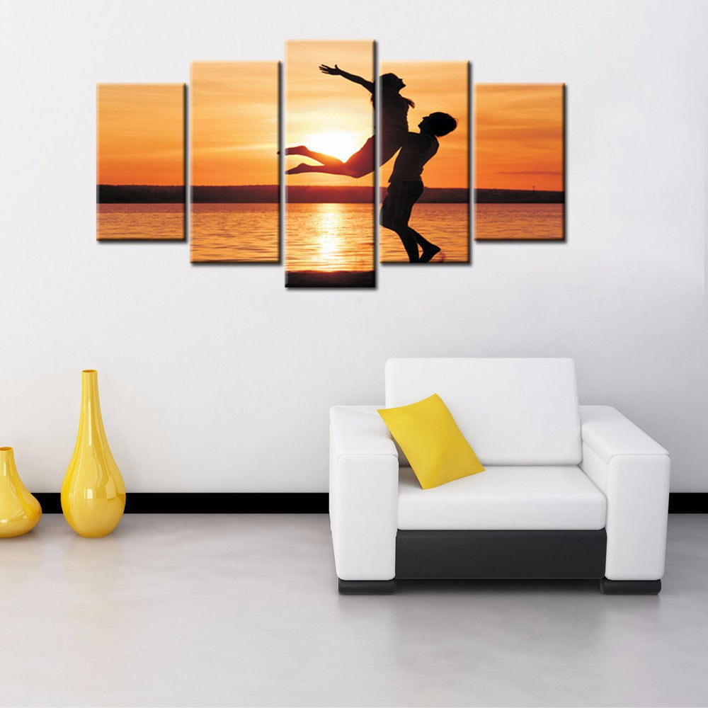 Couple in the sunset 5 Pcs Wall Canvas -  - TheLedHeroes