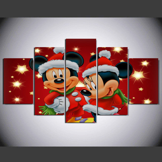 Mickey and Minnie Mouse 5 Pcs Wall Canvas -  - TheLedHeroes