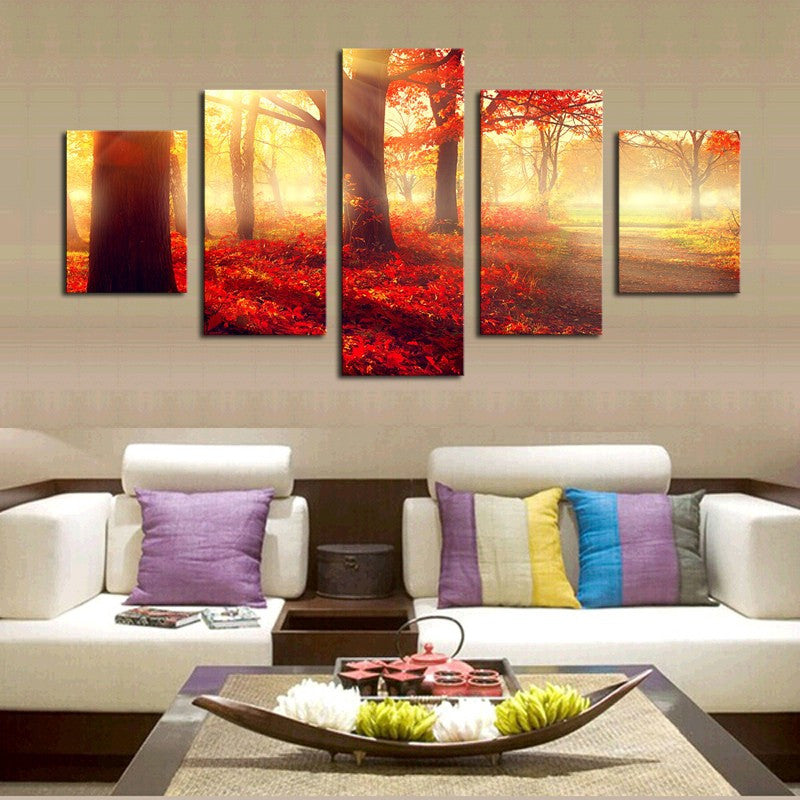 Sunset Red Trees 5 Pcs Wall Canvas -  - TheLedHeroes
